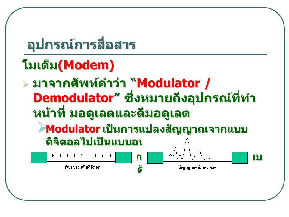 อุปกรณ์การสื่อสาร โมเด็ม(Modem)
