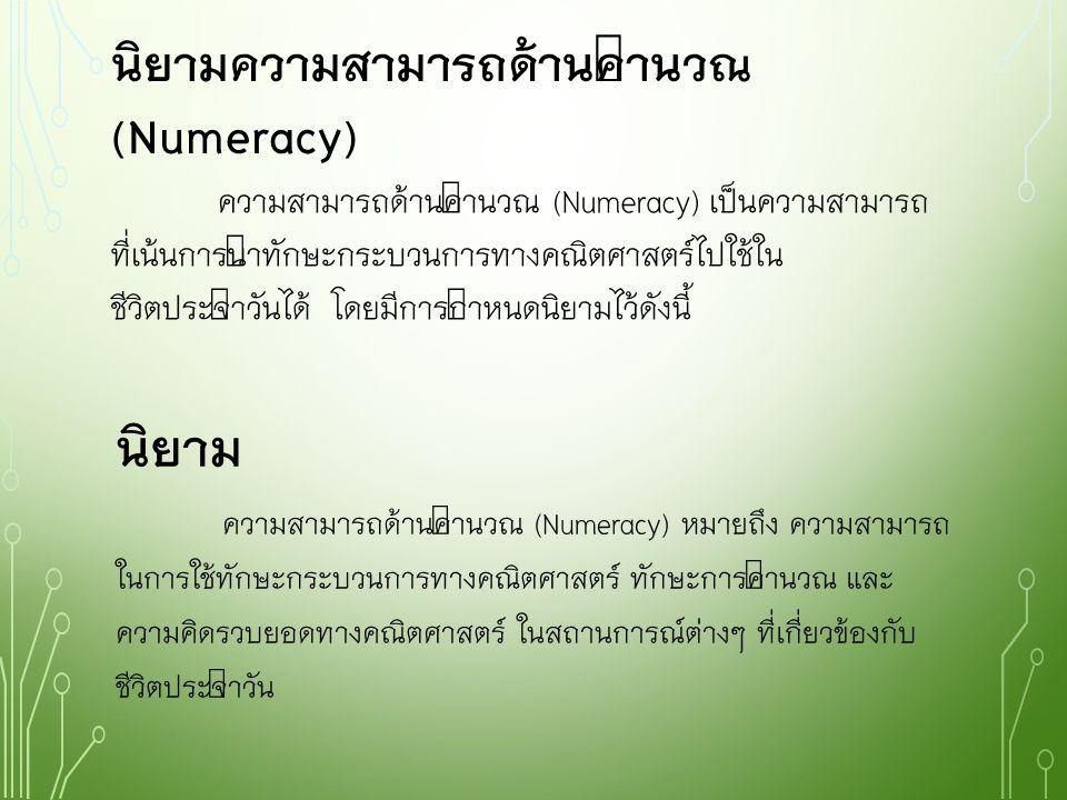 นิยามความสามารถด้านคำนวณ(Numeracy)