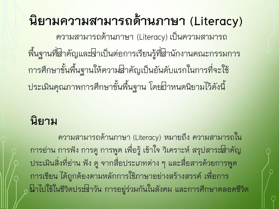 นิยามความสามารถด้านภาษา (Literacy)