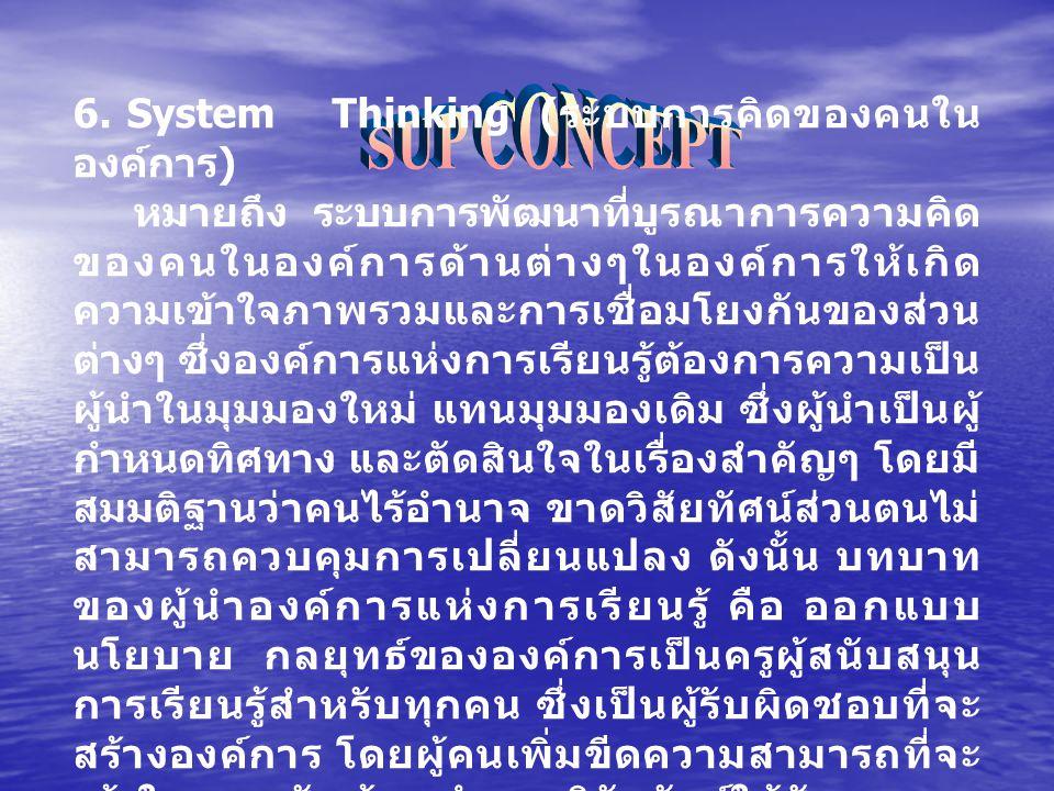 SUP CONCEPT 6. System Thinking (ระบบการคิดของคนในองค์การ)