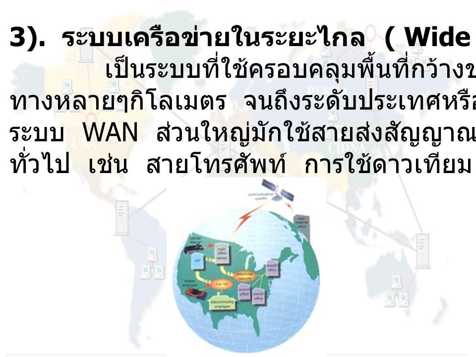 3). ระบบเครือข่ายในระยะไกล ( Wide Area Network : WAN )