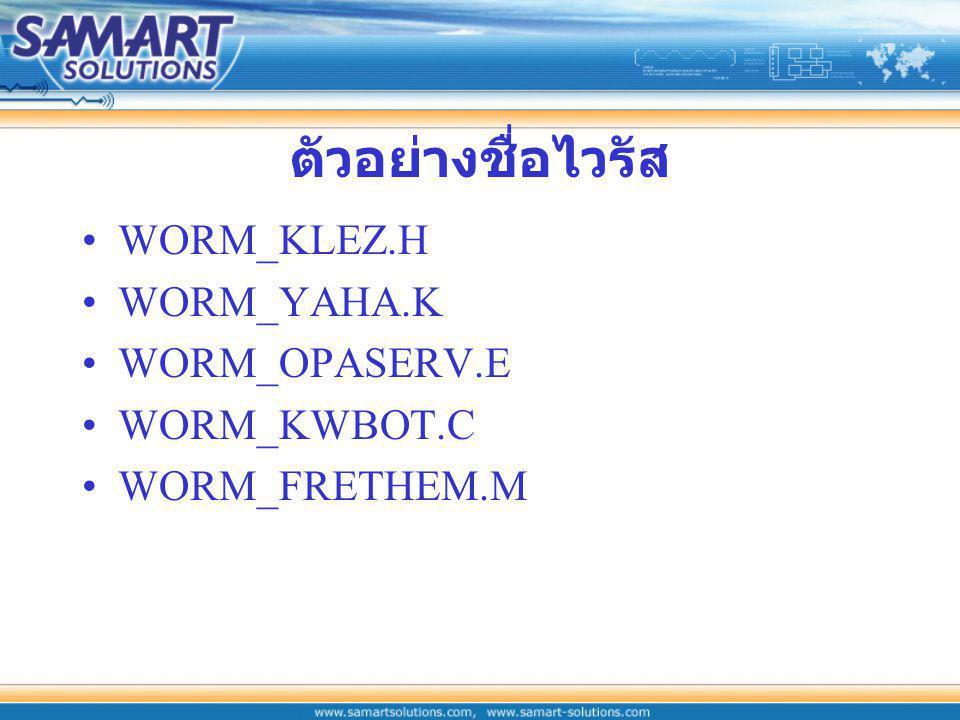 ตัวอย่างชื่อไวรัส WORM_KLEZ.H WORM_YAHA.K WORM_OPASERV.E WORM_KWBOT.C