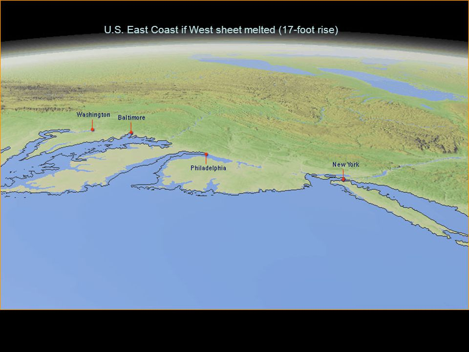 U.S. East Coast if West sheet melted (17-foot rise)