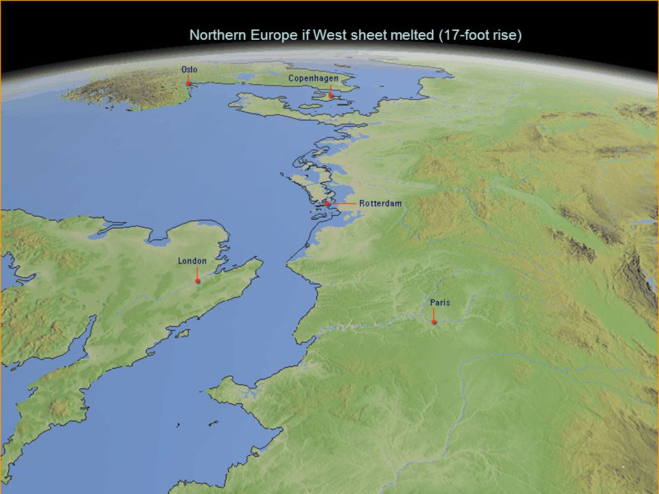 Northern Europe if West sheet melted (17-foot rise)