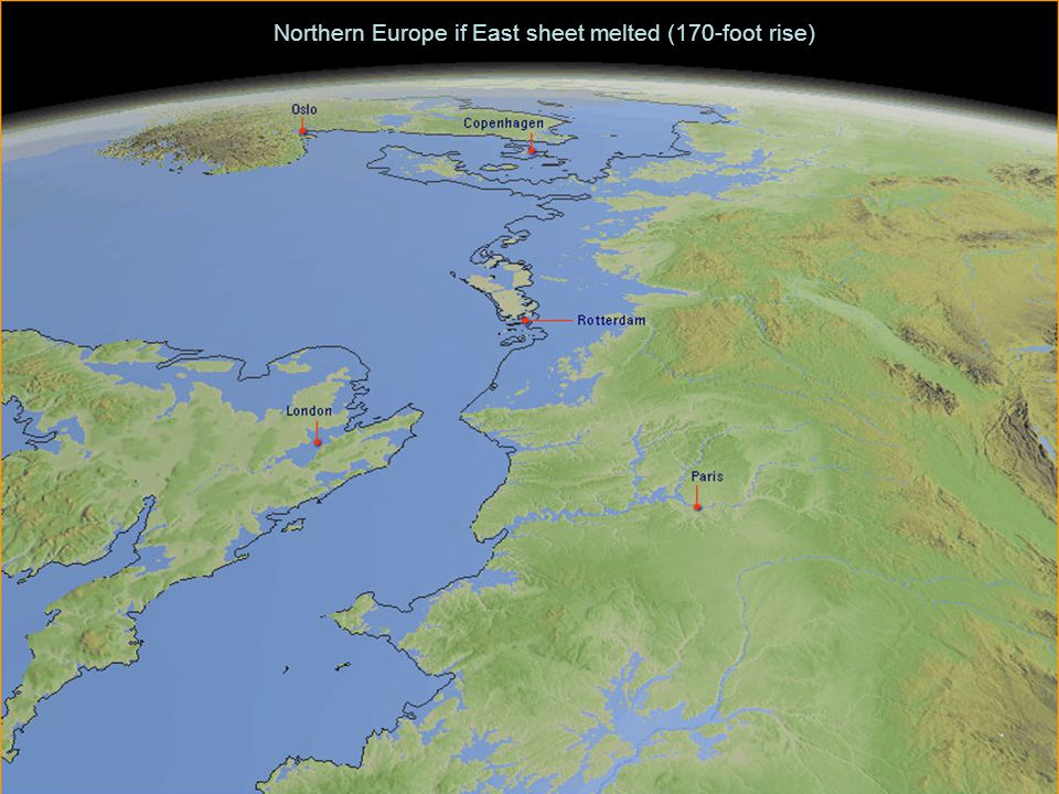 Northern Europe if East sheet melted (170-foot rise)