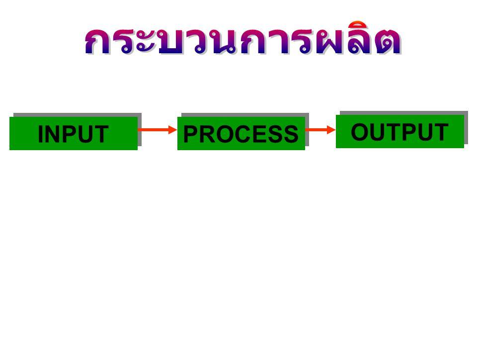 กระบวนการผลิต INPUT PROCESS OUTPUT