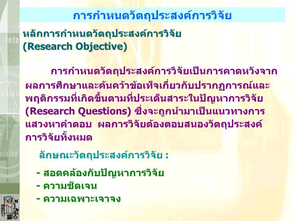 การกำหนดวัตถุประสงค์การวิจัย