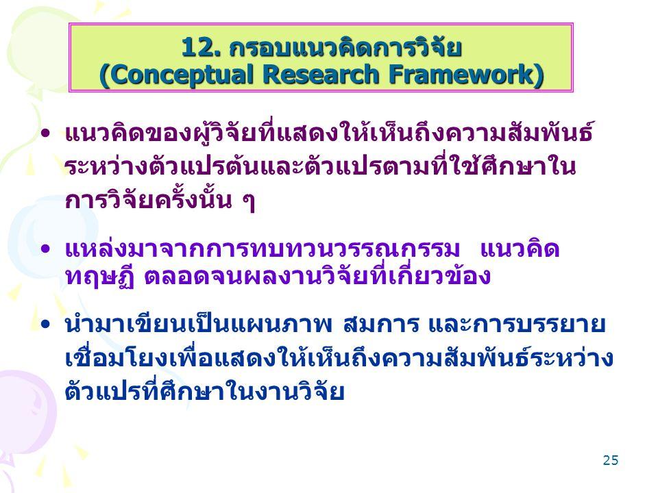 12. กรอบแนวคิดการวิจัย (Conceptual Research Framework)