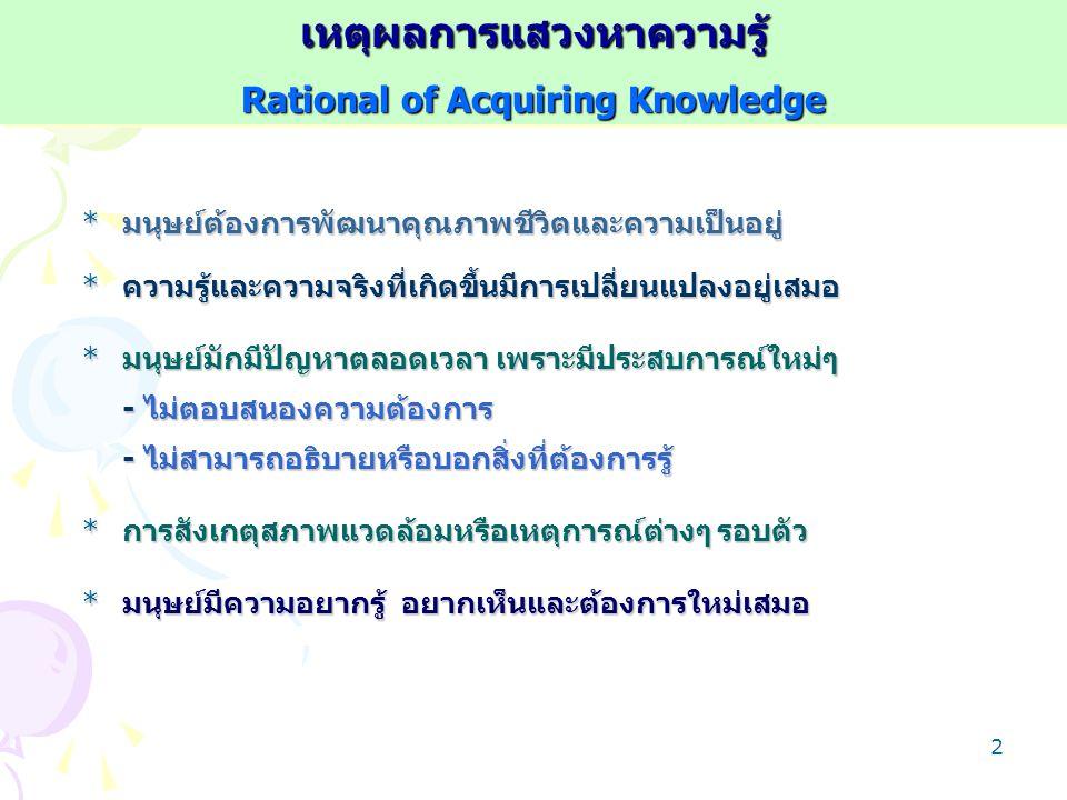 เหตุผลการแสวงหาความรู้ Rational of Acquiring Knowledge
