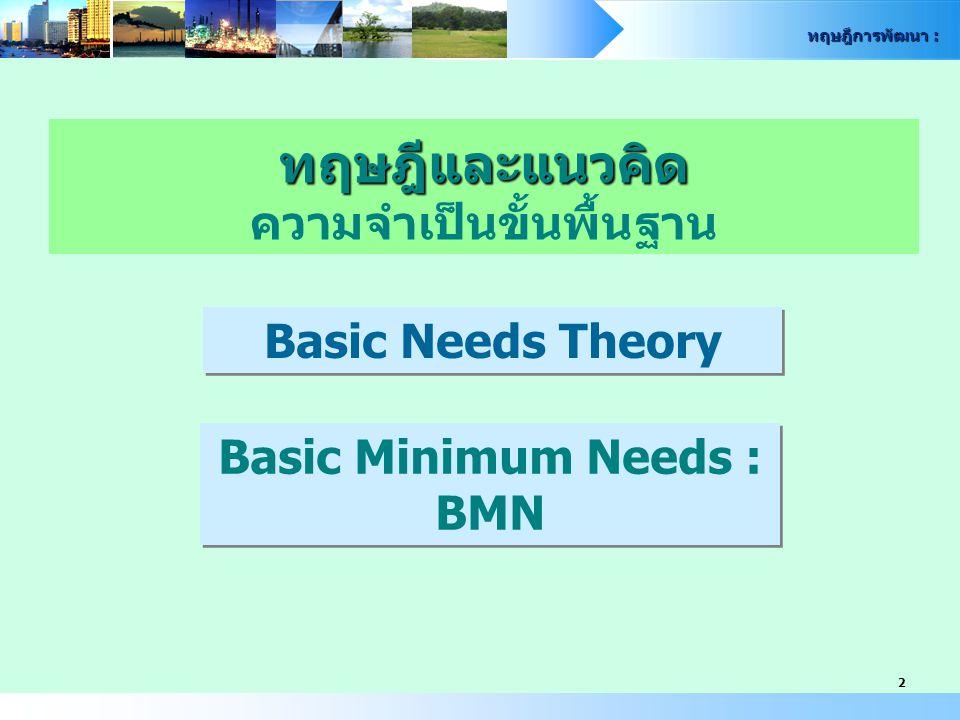 ทฤษฎีและแนวคิด ความจำเป็นขั้นพื้นฐาน Basic Minimum Needs : BMN
