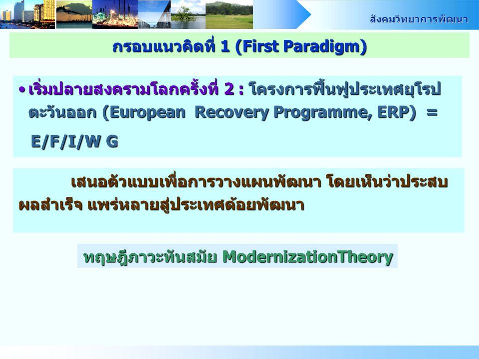 กรอบแนวคิดที่ 1 (First Paradigm) ทฤษฎีภาวะทันสมัย ModernizationTheory