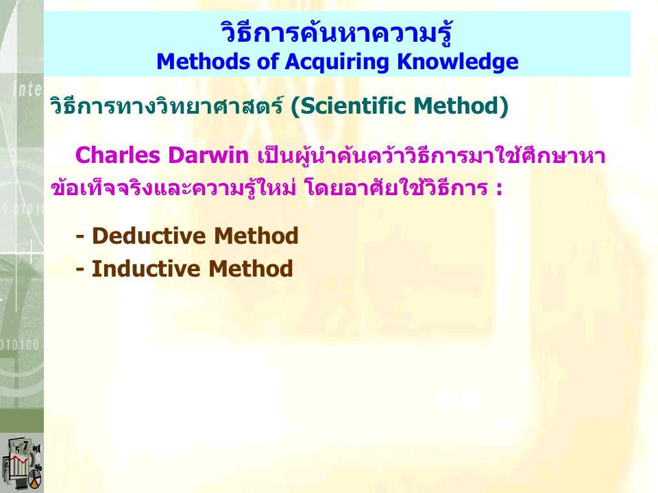 วิธีการค้นหาความรู้ Methods of Acquiring Knowledge