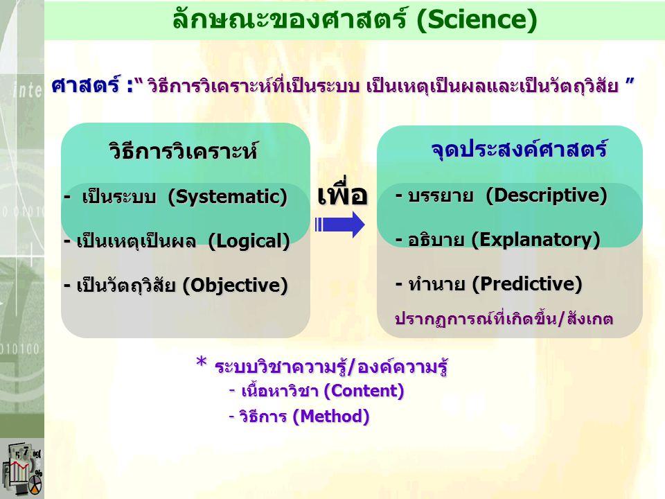 ลักษณะของศาสตร์ (Science)