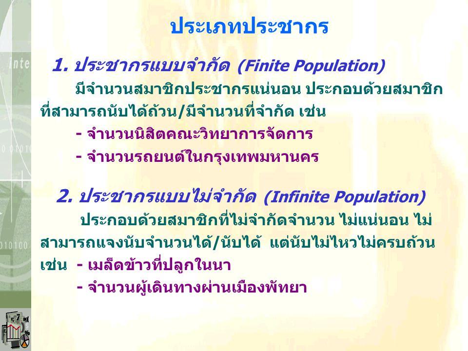 ประเภทประชากร 1. ประชากรแบบจำกัด (Finite Population)