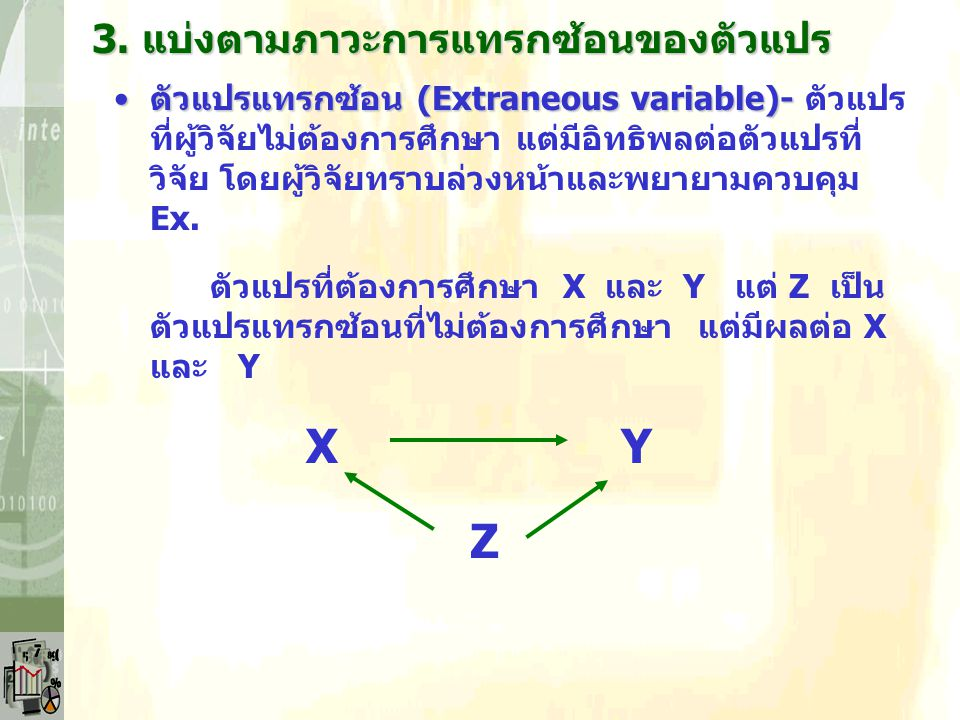 X Y Z 3. แบ่งตามภาวะการแทรกซ้อนของตัวแปร