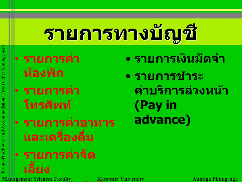 Management Sciences Faculty Kasetsart University Auntiga Phung-nga