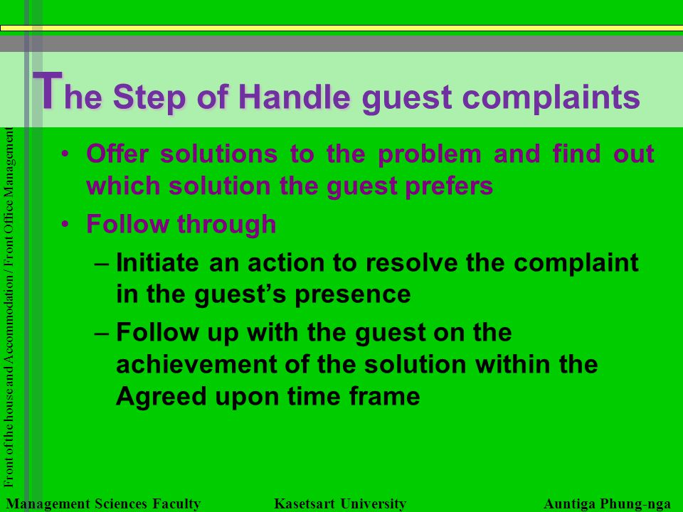 The Step of Handle guest complaints
