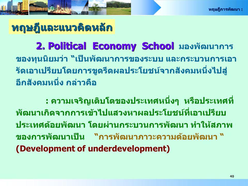 ทฤษฎีและแนวคิดหลัก 2. Political Economy School มองพัฒนาการ