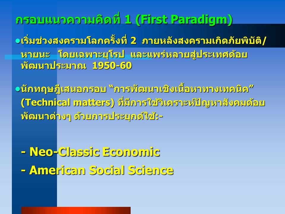 กรอบแนวความคิดที่ 1 (First Paradigm)