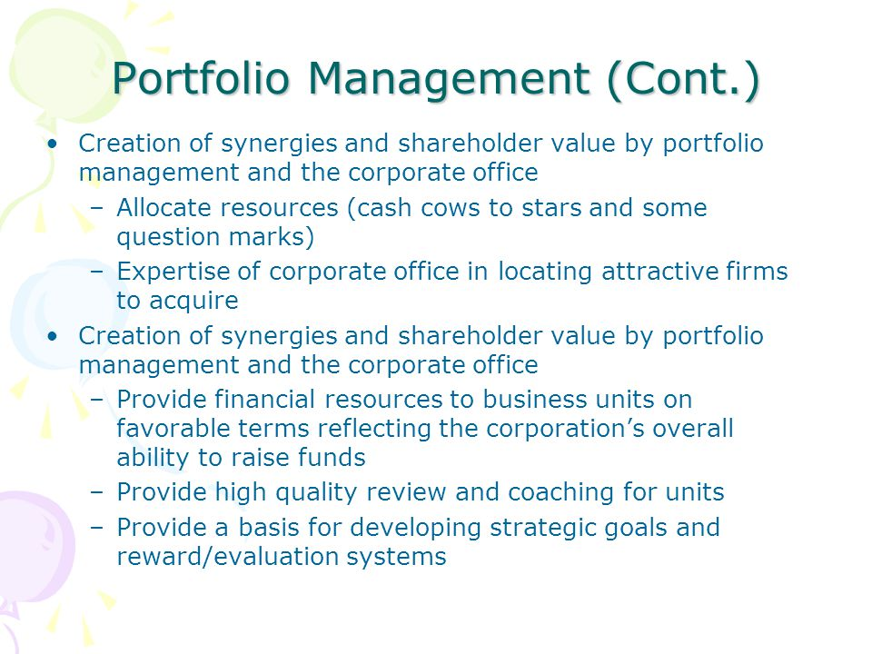Portfolio Management (Cont.)