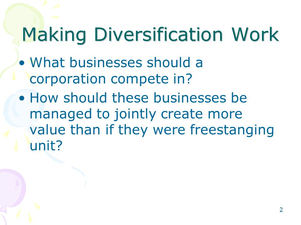 Making Diversification Work