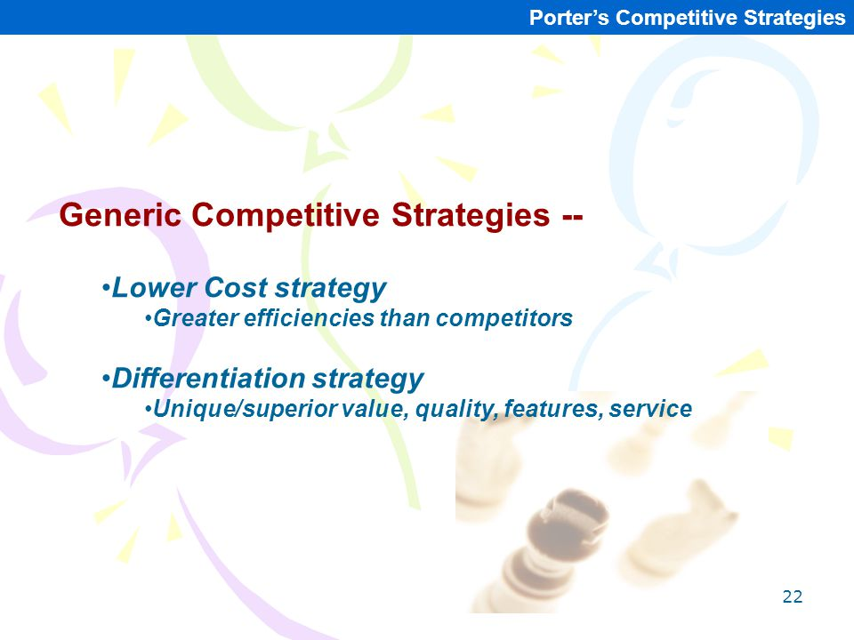 Generic Competitive Strategies --