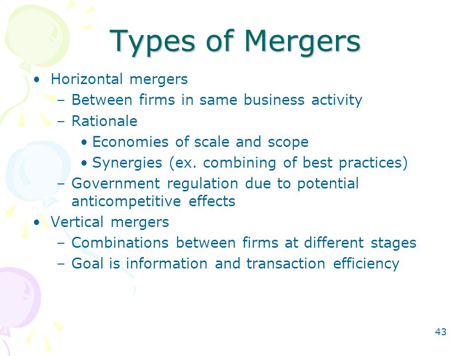 Types of Mergers Horizontal mergers