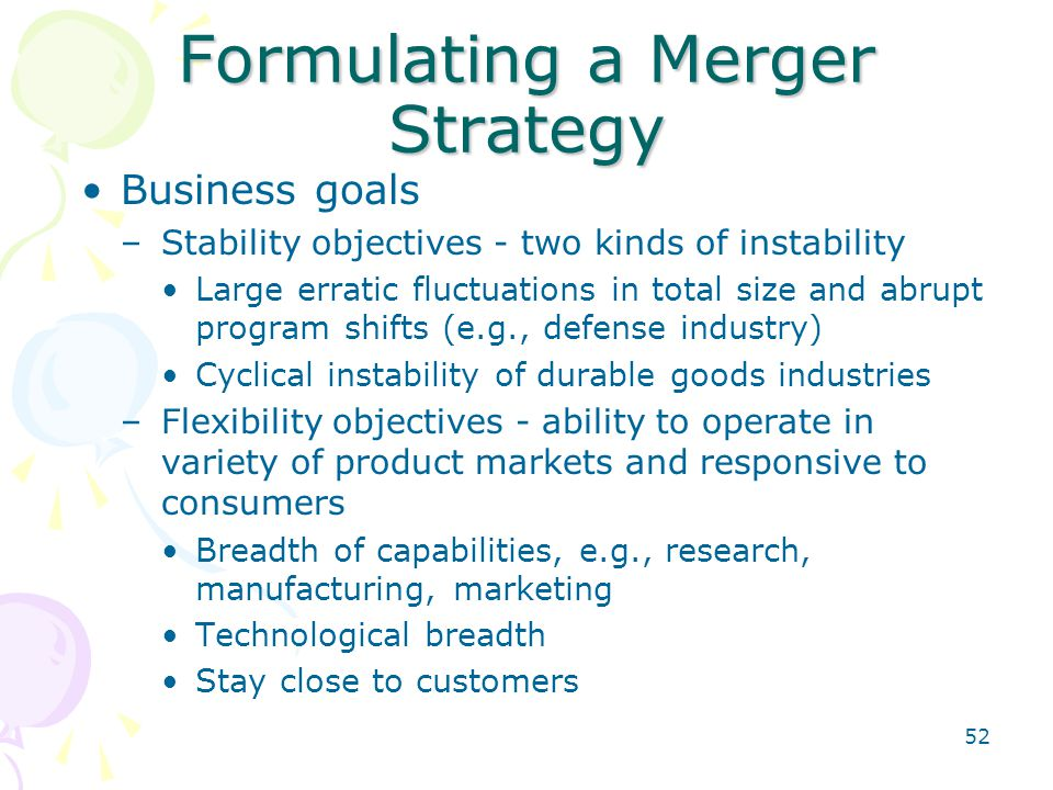 Formulating a Merger Strategy