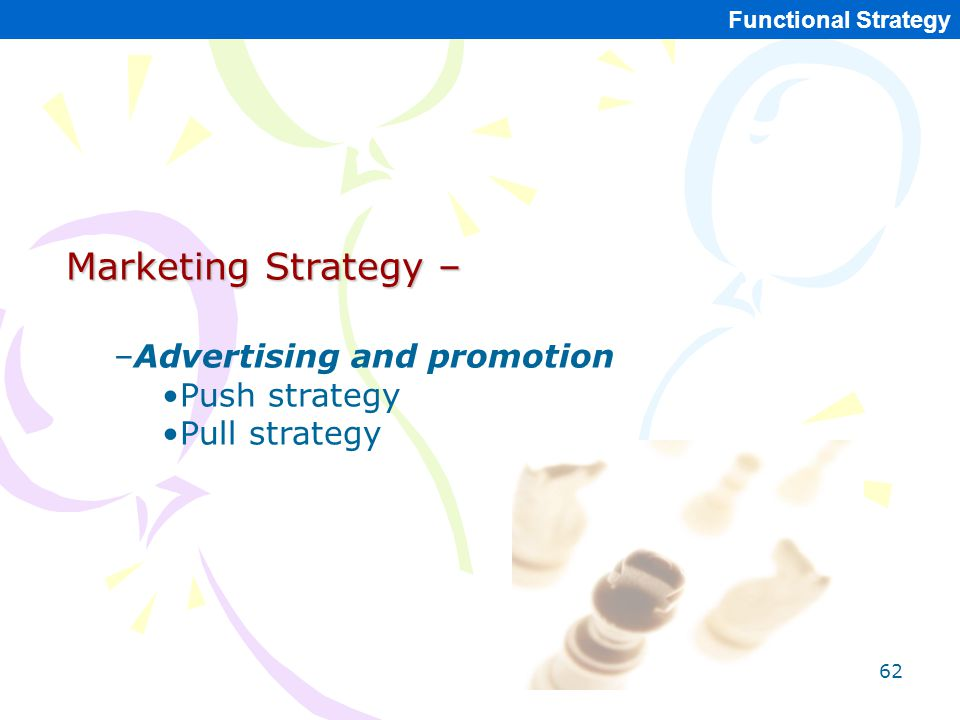 Marketing Strategy – Advertising and promotion Push strategy