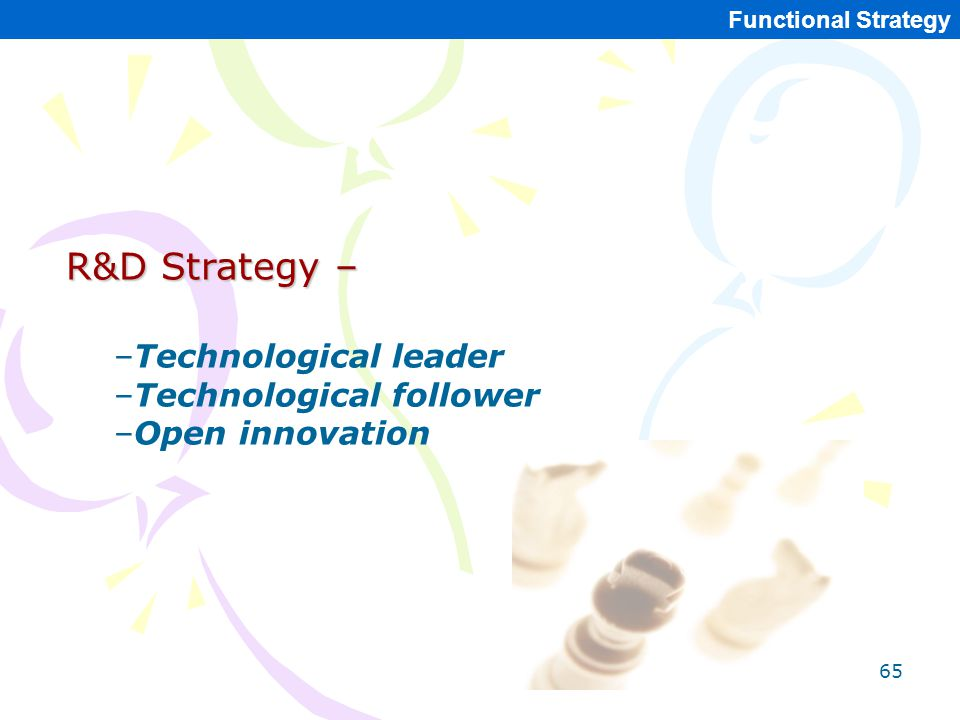 R&D Strategy – Technological leader Technological follower