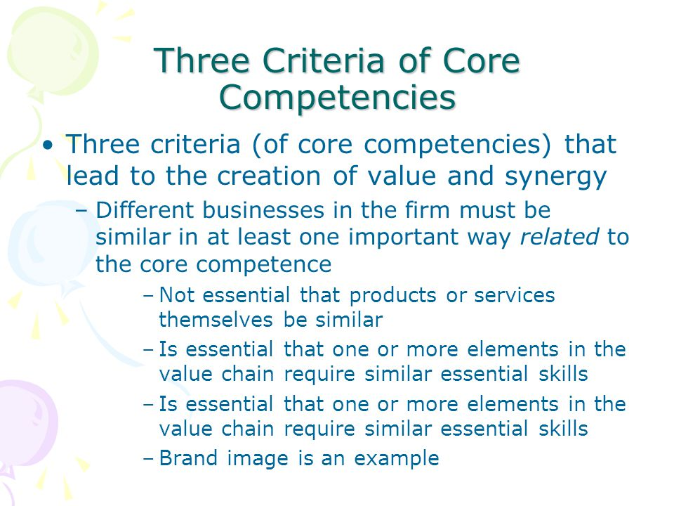 Three Criteria of Core Competencies