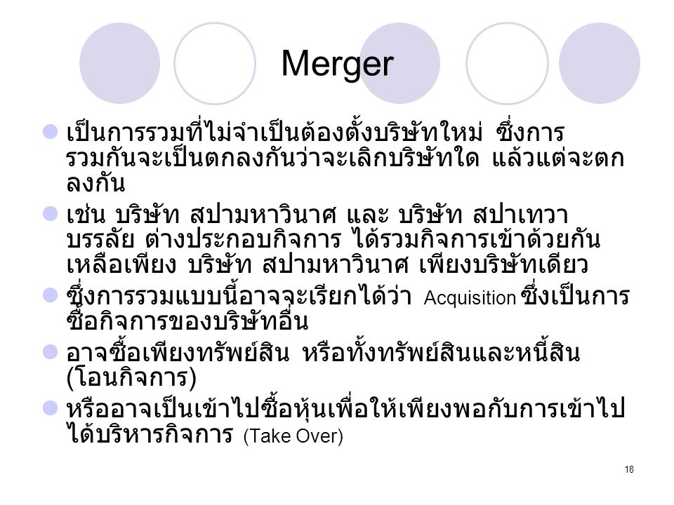 Dr. Songporn Hansanti Environment of Business. Merger.