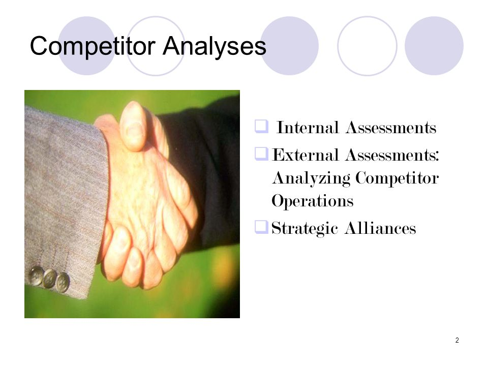 Competitor Analyses Internal Assessments