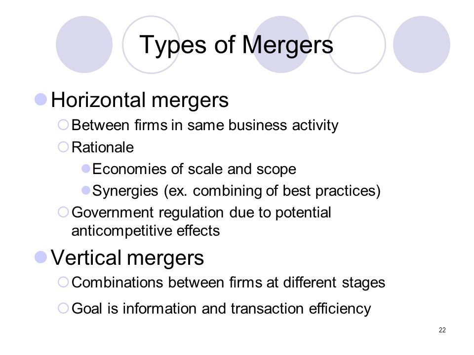 Types of Mergers Horizontal mergers Vertical mergers