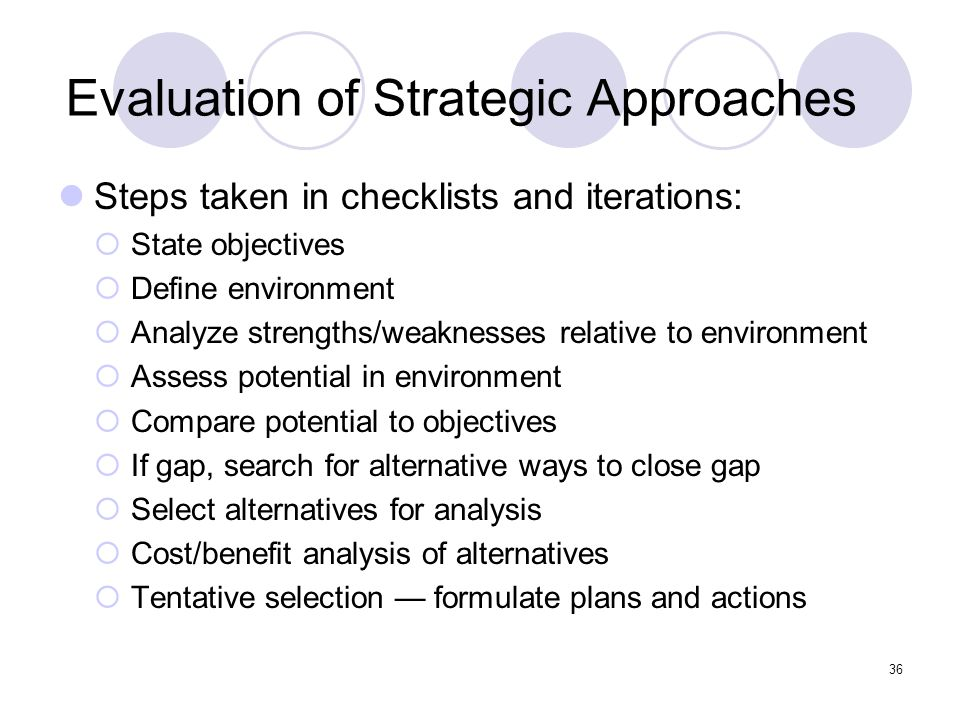 Evaluation of Strategic Approaches