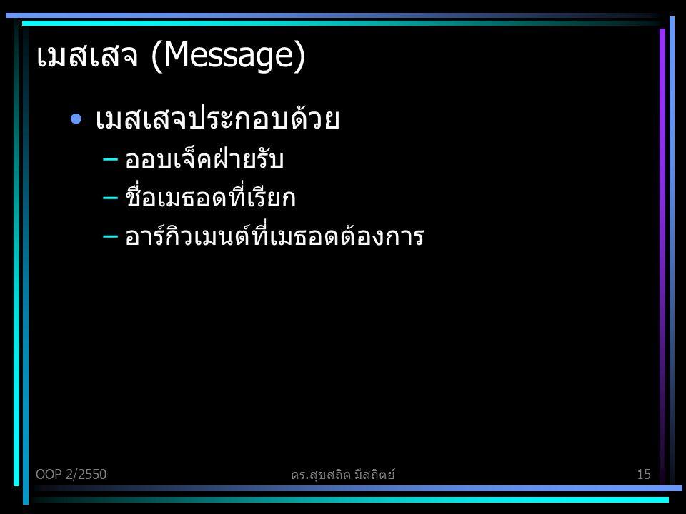 เมสเสจ (Message) เมสเสจประกอบด้วย ออบเจ็คฝ่ายรับ ชื่อเมธอดที่เรียก