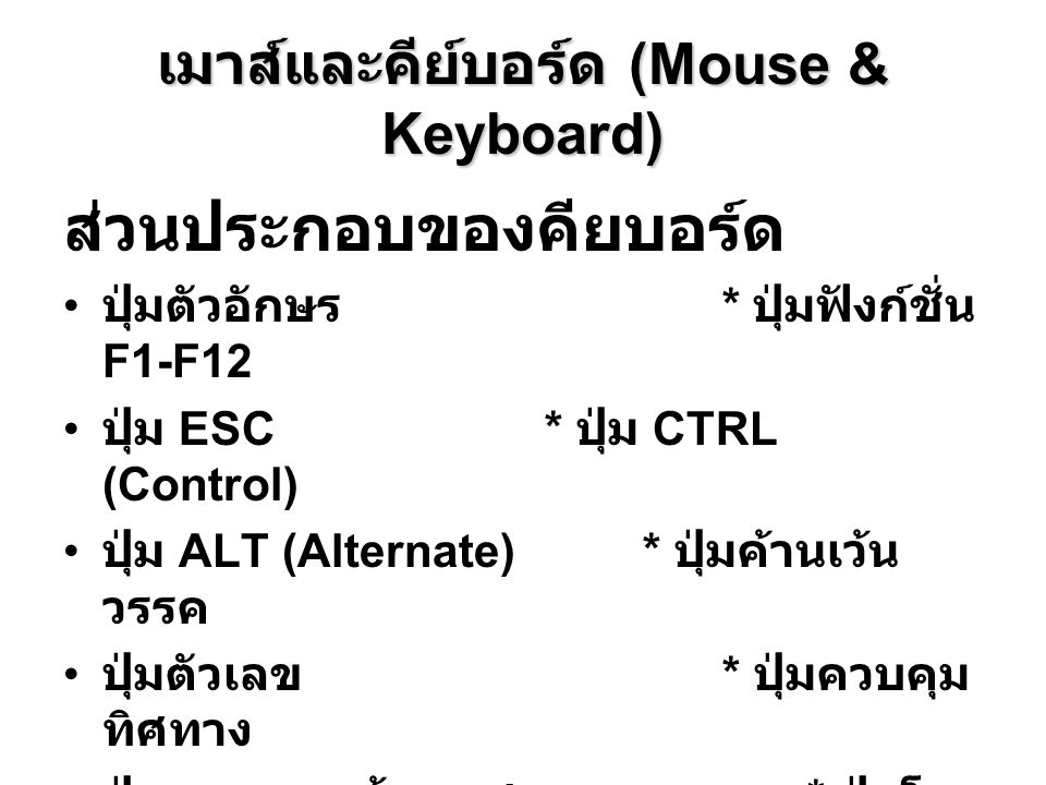 เมาส์และคีย์บอร์ด (Mouse & Keyboard)