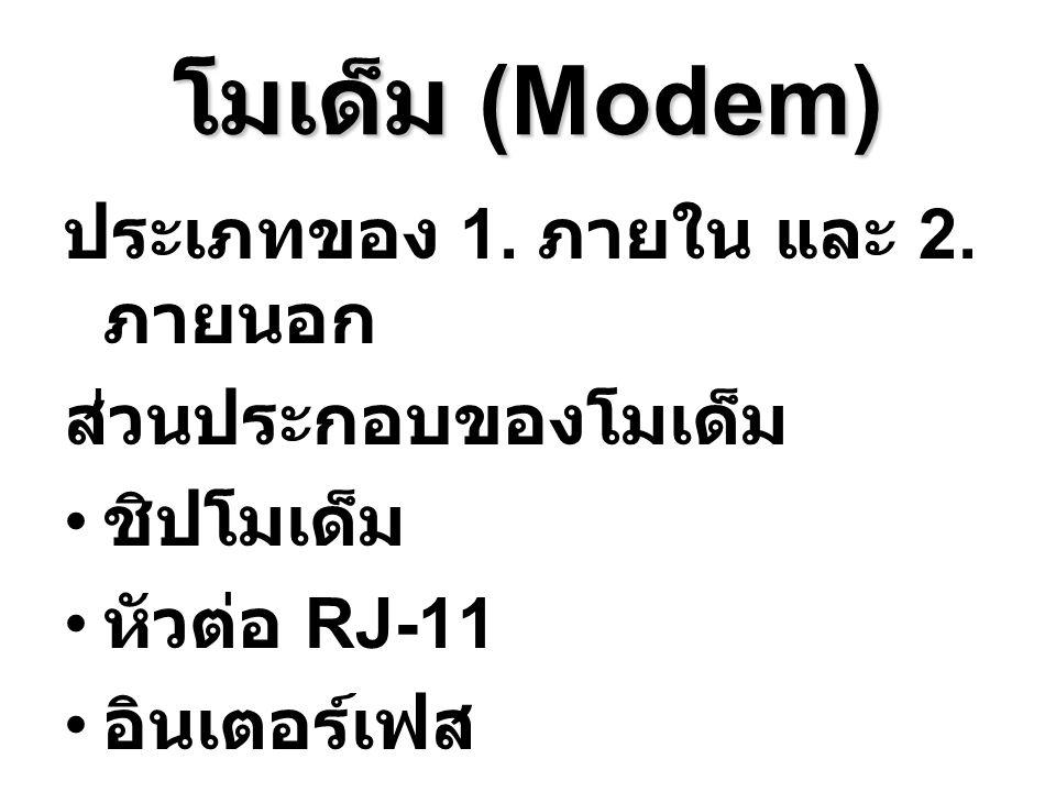 โมเด็ม (Modem) ประเภทของ 1. ภายใน และ 2. ภายนอก ส่วนประกอบของโมเด็ม