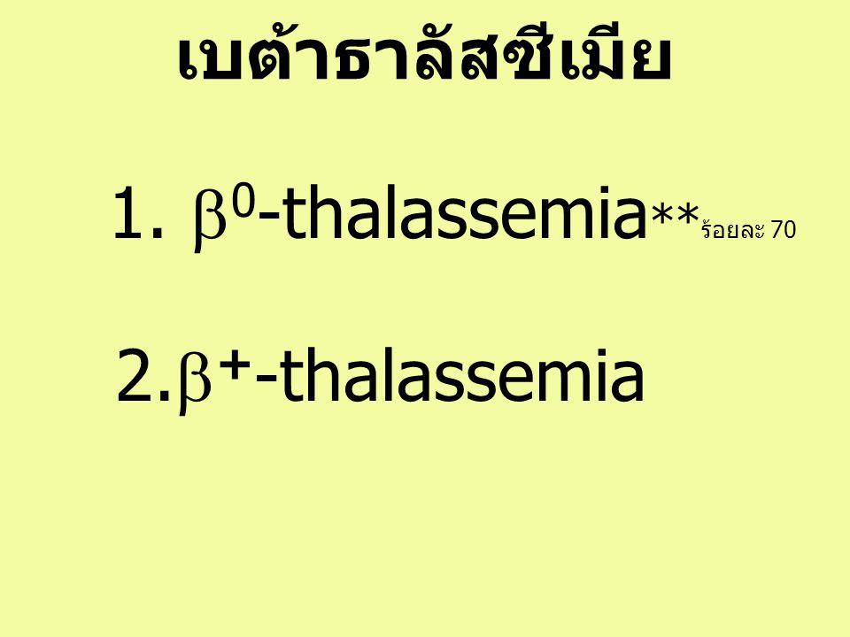 เบต้าธาลัสซีเมีย 1. b0-thalassemia**ร้อยละ 70 2.b+-thalassemia