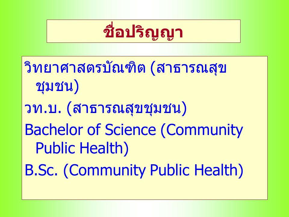 ชื่อปริญญา วิทยาศาสตรบัณฑิต (สาธารณสุขชุมชน) วท.บ. (สาธารณสุขชุมชน)