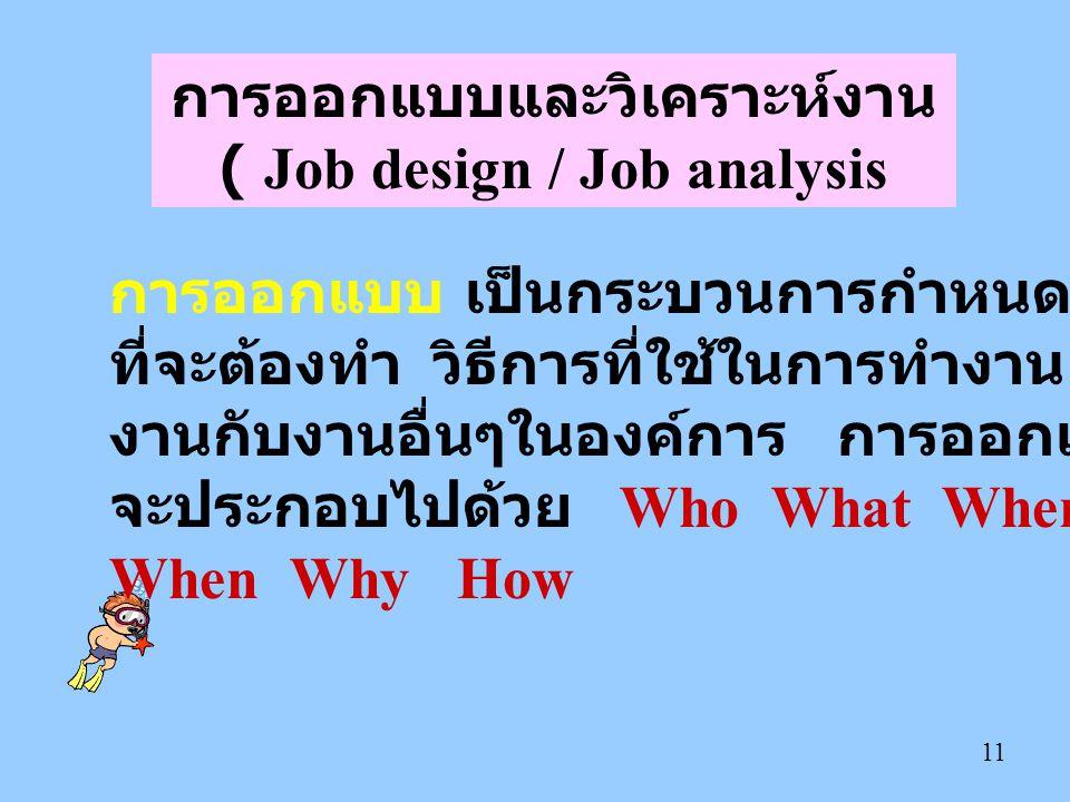 การออกแบบและวิเคราะห์งาน ( Job design / Job analysis
