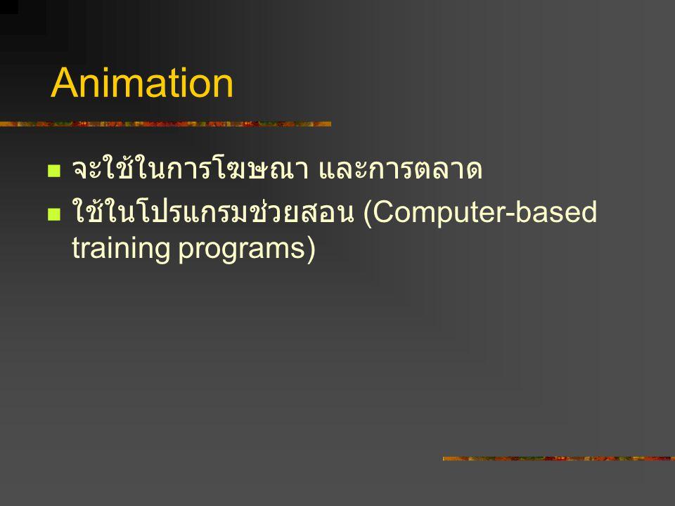 Animation จะใช้ในการโฆษณา และการตลาด