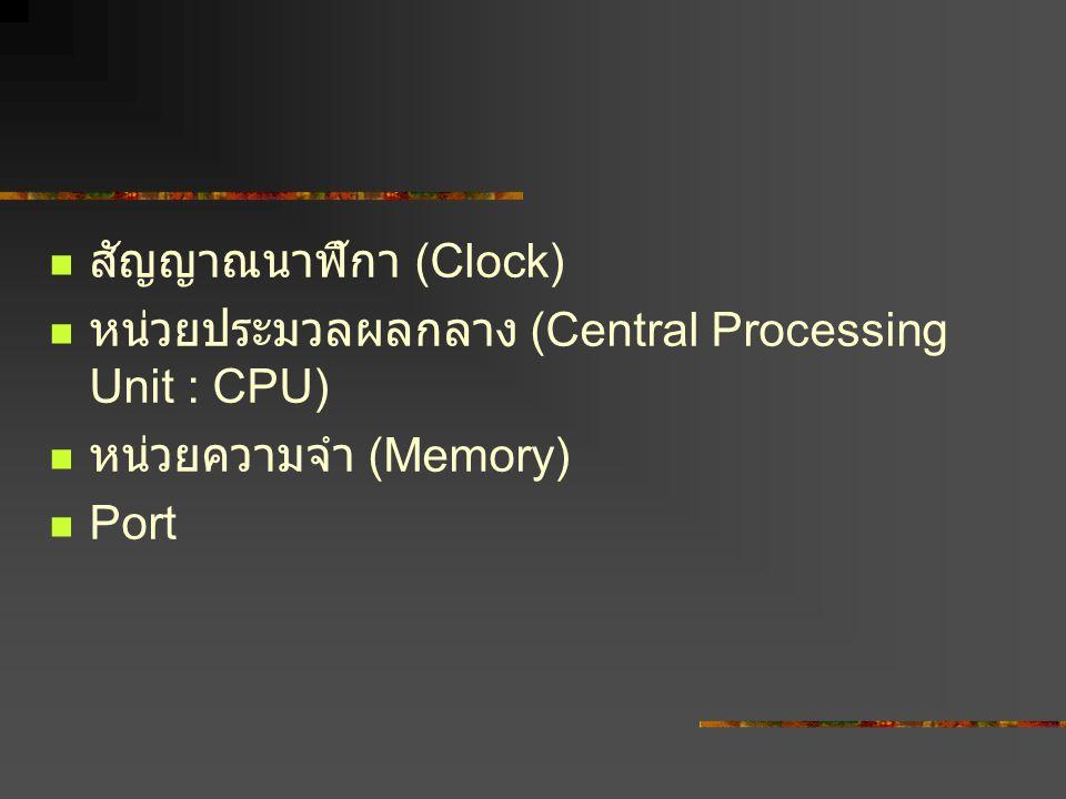 สัญญาณนาฬิกา (Clock) หน่วยประมวลผลกลาง (Central Processing Unit : CPU) หน่วยความจำ (Memory) Port