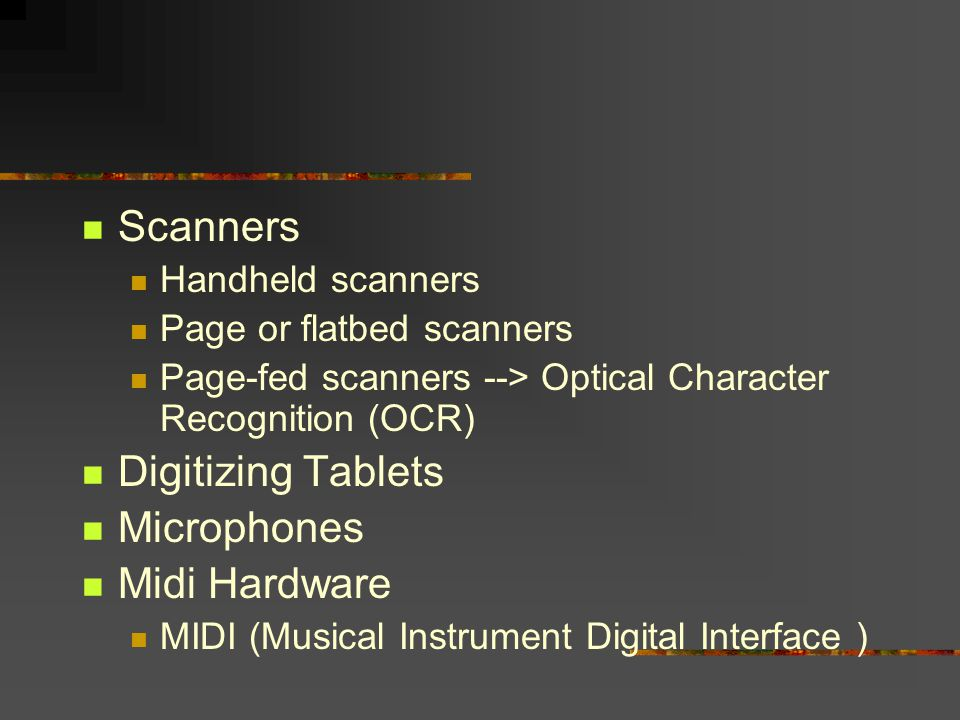 Scanners Digitizing Tablets Microphones Midi Hardware