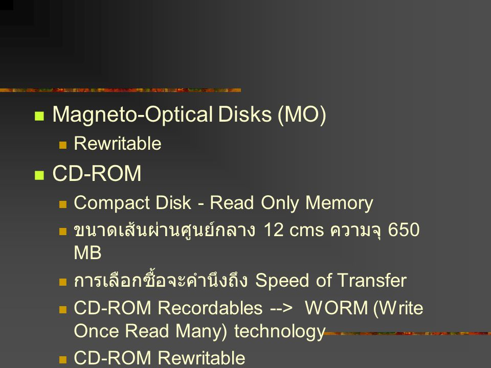 Magneto-Optical Disks (MO) CD-ROM