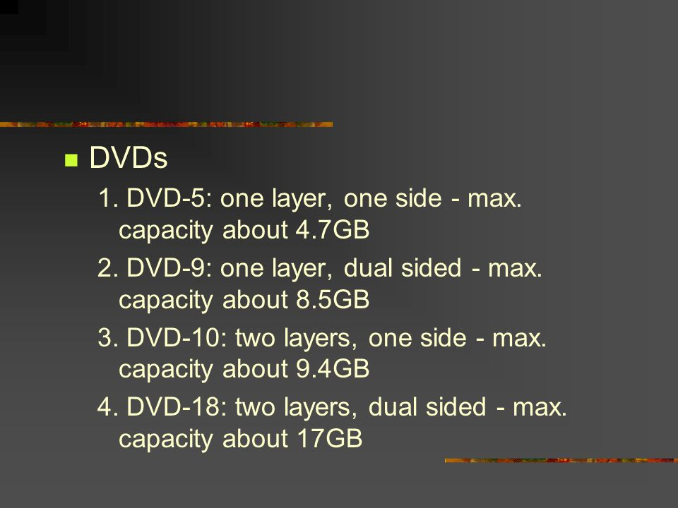 DVDs 1. DVD-5: one layer, one side - max. capacity about 4.7GB