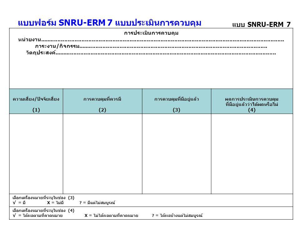 แบบฟอร์ม SNRU-ERM 7 แบบประเมินการควบคุม
