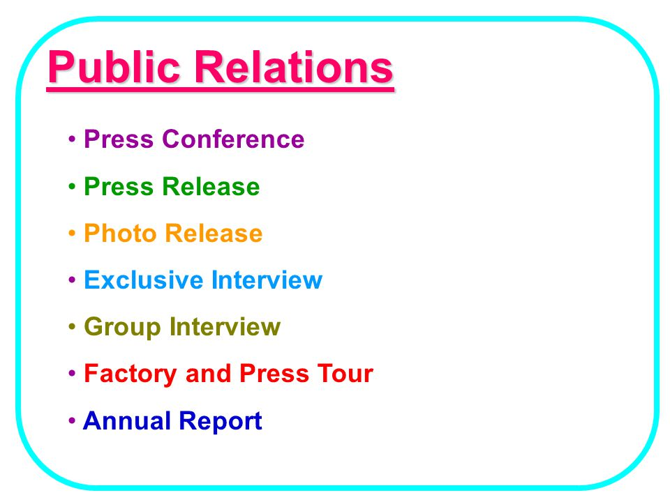 Public Relations Press Conference Press Release Photo Release
