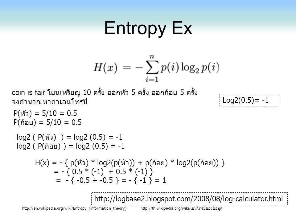 Entropy Ex coin is fair โยนเหรียญ 10 ครั้ง ออกหัว 5 ครั้ง ออกก้อย 5 ครั้ง. จงคำนวณหาค่าเอนโทรปี Log2(0.5)= -1.