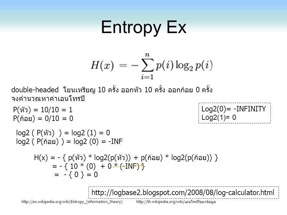 Entropy Ex double-headed โยนเหรียญ 10 ครั้ง ออกหัว 10 ครั้ง ออกก้อย 0 ครั้ง. จงคำนวณหาค่าเอนโทรปี